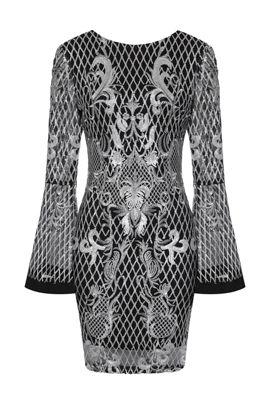 NSX Silver Sleeve Midi Dress