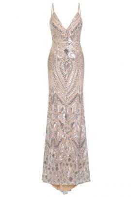 NSX Silver VIP Sequin Maxi Dress