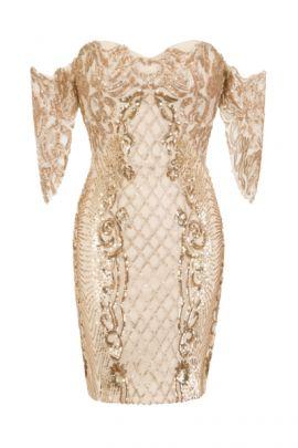 NSX VIP Nude Gold Mini Bodycon Dress