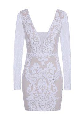NSX white nude long sequin dress