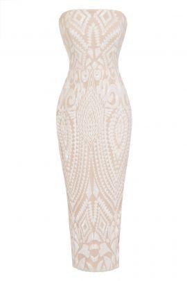 NSX White Nude Luxe Midi Dress