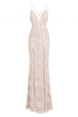 NSX White Sequin Double Slit Maxi Dress