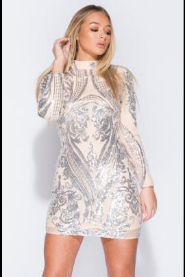 Nude/Silver Sequin Bodycon Dress