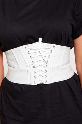 White Leather Corset Belt