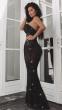 NSX Black Luxe Embellished Maxi Dress