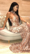 NSX Rose Gold Luxe Embellished Fishtail Maxi Dress