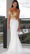 NSX White/Gold Backless Maxi Dress
