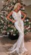 NSX White Gold VIP Mermaid Maxi Dress