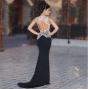 NSX Black Sparkle Backless Maxi Dress